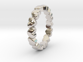 "Stackable ""Throbs"" Ring in Rhodium Plated Brass: 4.5 / 47.75"