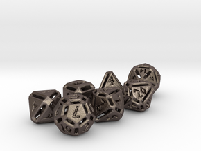 Rough Poly Dice Set in Polished Bronzed Silver Steel