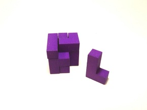 Small SOMA cube fits in the Box (a separate produc in Purple Processed Versatile Plastic