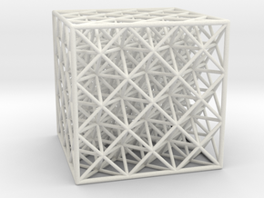 Octet Truss Cube (3x3x3)  in White Natural Versatile Plastic