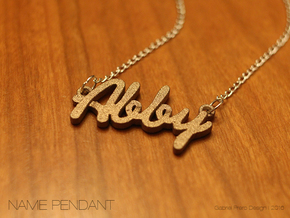 """Name Pendant - """"Abby"""" in Polished Bronzed Silver Steel"""