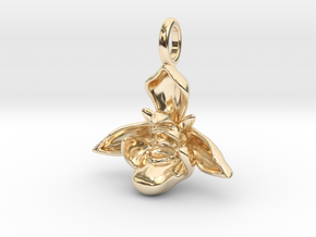 Bee Orchid Pendant - Nature Jewelry in 14k Gold Plated Brass