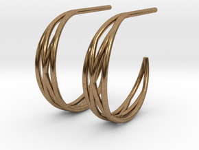 Woven Creole Earrings in Natural Brass