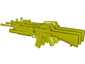 1/15 scale Colt M-16A1 & M-203 rifles x 3 in Smooth Fine Detail Plastic