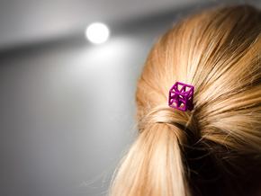 Hairpin with stylized cube. in Purple Strong & Flexible Polished