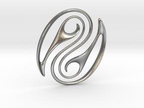 Wave Pounamu Pendant in Natural Silver