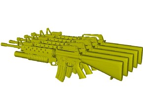 1/24 scale Colt M-16A1 & M-203 rifles x 5 in Smooth Fine Detail Plastic