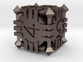 D6 - Andrew Bell 3d - Geometric Design 1 in Polished Bronzed Silver Steel