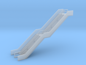 N Scale Station Stairs H50mm in Smooth Fine Detail Plastic