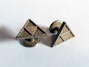 Triforce Cufflinks in Polished Bronzed Silver Steel