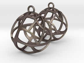 Earrings Spherical Mesh in Polished Bronzed Silver Steel