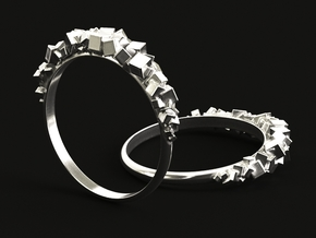 Ring with small boxes US11 Size in Polished Silver: 11 / 64