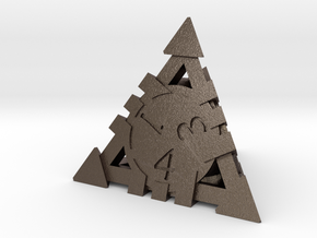 D4 - Andrew Bell 3d - Geometric Design 1 in Polished Bronzed Silver Steel