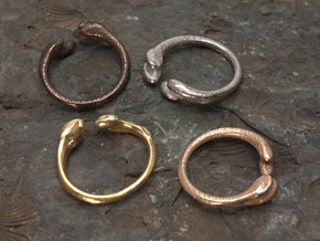 Femur Ring - with size variations in Polished Bronzed Silver Steel: 6 / 51.5