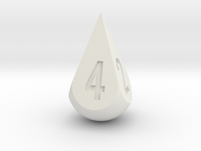 Teardrop Dice in White Natural Versatile Plastic: d4