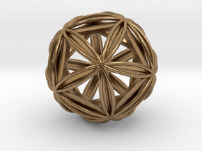 """Icosasphere w/ Nested Icosahedron 1.8"""" in Natural Brass"""