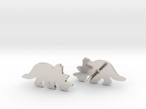 Regaliceratops Earrings in Rhodium Plated Brass