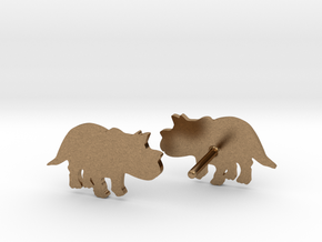 Triceratops Baby Earrings in Natural Brass