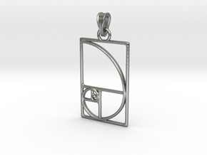Fibonacci Pendant in Natural Silver (Interlocking Parts)