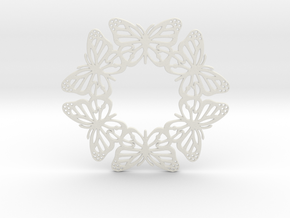 Monarch Butterfly Snowflake Ornament in White Strong & Flexible