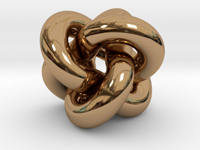 Borromean Rings Pendant in Interlocking Polished Brass: Medium