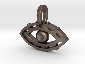 Evil Eye charm in Polished Bronzed Silver Steel