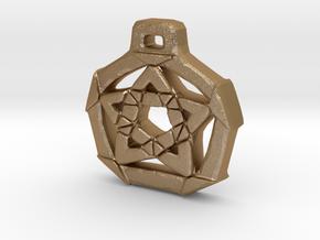 Unique Pentacle pendant in Matte Gold Steel