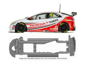S20-ST4 Chassis for Scalextric Honda Civic SSD/STD in Black Natural Versatile Plastic