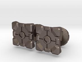 Portal companion cube cufflinks in Polished Bronzed Silver Steel