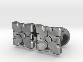 Portal companion cube cufflinks in Polished Silver