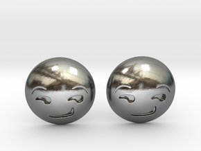 Smirk Face Emoji in Polished Silver