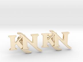 Monogram Cufflinks KN in 14k Gold Plated Brass