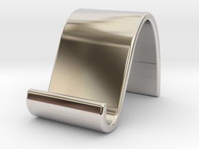 landschape & portrait phone stand 'Wave' in Rhodium Plated Brass