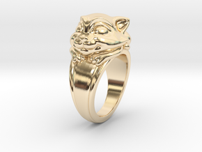 Cat Pet Ring - 18.19mm - US Size 8 in 14k Gold Plated Brass