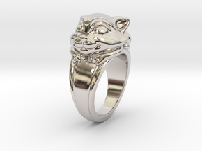 Cat Pet Ring - 18.89mm - US Size 9 in Rhodium Plated Brass