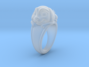 Dog Pet Ring - 17.35mm - US Size 7 in Smooth Fine Detail Plastic