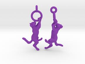 Hanging Cat Earrings in Purple Processed Versatile Plastic
