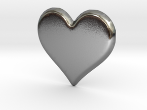 Soft Heart Pendant in Polished Silver: Extra Small