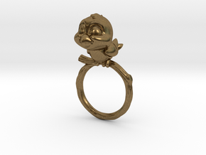 Bird Pet Ring - 17.35mm - US Size 7 in Natural Bronze