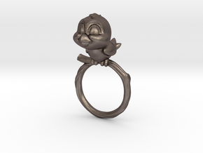Bird Pet Ring - 18.89mm - US Size 9 in Polished Bronzed Silver Steel