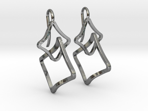 EARRINGS SOFT QUAD in Polished Silver (Interlocking Parts)