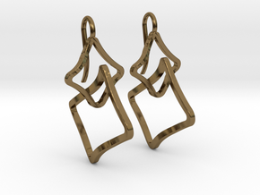 EARRINGS SOFT QUAD in Polished Bronze (Interlocking Parts)