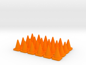 24 Small Traffic Cones in Orange Processed Versatile Plastic: 1:64