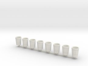 City Waste Can in O scale 8x in White Natural Versatile Plastic