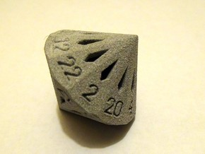 22 Sided Die - Large in White Strong & Flexible