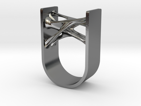 Synapse Ring in Polished Silver: 4 / 46.5