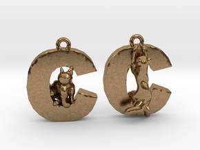 C Is For Cat in Natural Brass