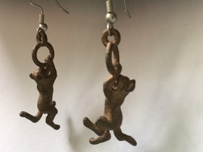 Hanging Cat Earrings in Raw Bronze