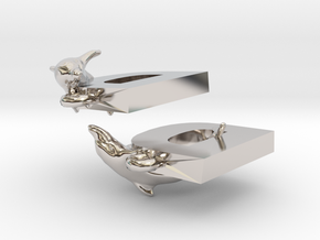 D Is For Dolphin in Rhodium Plated Brass