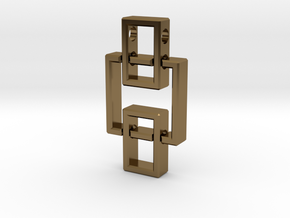 Geometric Pendant - Interlocked Rectangles in Polished Bronze (Interlocking Parts)